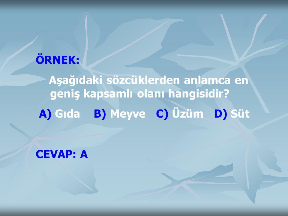 ÖRNEK: Aşağıdaki sözcüklerden anlamca en geniş kapsamlı olanı hangisidir? A) Gıda B) Meyve C) Üzüm D) Süt CEVAP: A