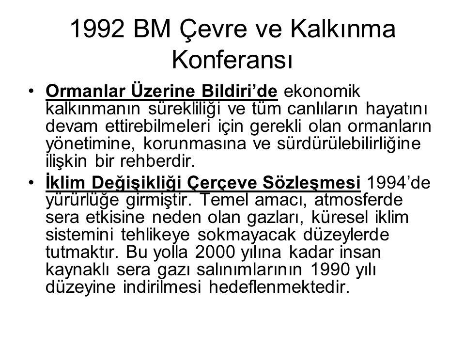 1992 BM Çevre ve Kalkınma Konferansı Ormanlar Üzerine Bildiri'de ekonomik kalkınmanın sürekliliği ve tüm canlıların hayatını devam ettirebilmeleri içi