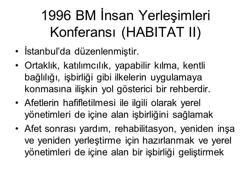 1996 BM İnsan Yerleşimleri Konferansı (HABITAT II) İstanbul'da düzenlenmiştir. Ortaklık, katılımcılık, yapabilir kılma, kentli bağlılığı, işbirliği gi