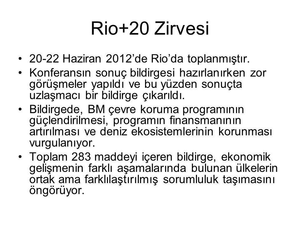 Rio+20 Zirvesi 20-22 Haziran 2012'de Rio'da toplanmıştır. Konferansın sonuç bildirgesi hazırlanırken zor görüşmeler yapıldı ve bu yüzden sonuçta uzlaş