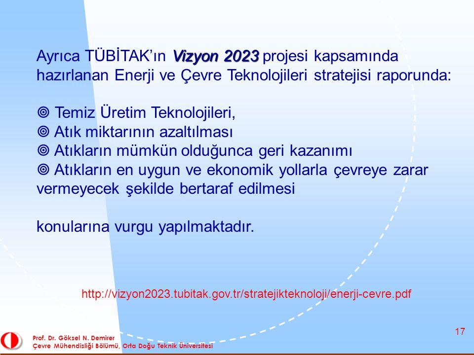 17 Prof. Dr. Göksel N. Demirer Çevre Mühendisliği Bölümü, Orta Doğu Teknik Üniversitesi Vizyon 2023 Ayrıca TÜBİTAK'ın Vizyon 2023 projesi kapsamında h