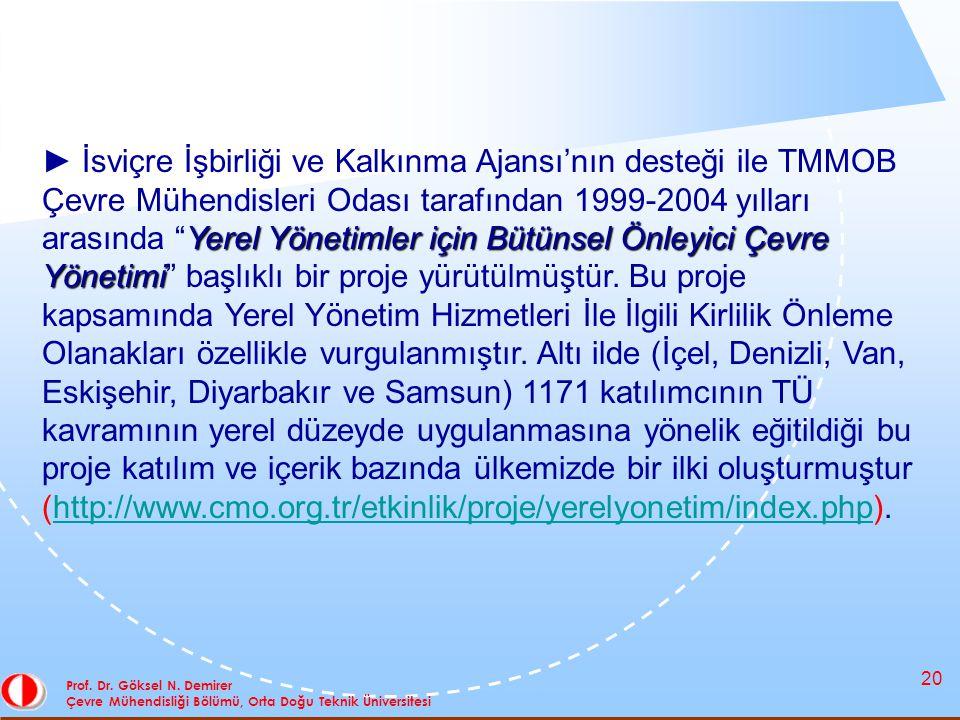 20 Prof. Dr. Göksel N. Demirer Çevre Mühendisliği Bölümü, Orta Doğu Teknik Üniversitesi Yerel Yönetimler için Bütünsel Önleyici Çevre Yönetimi ► İsviç