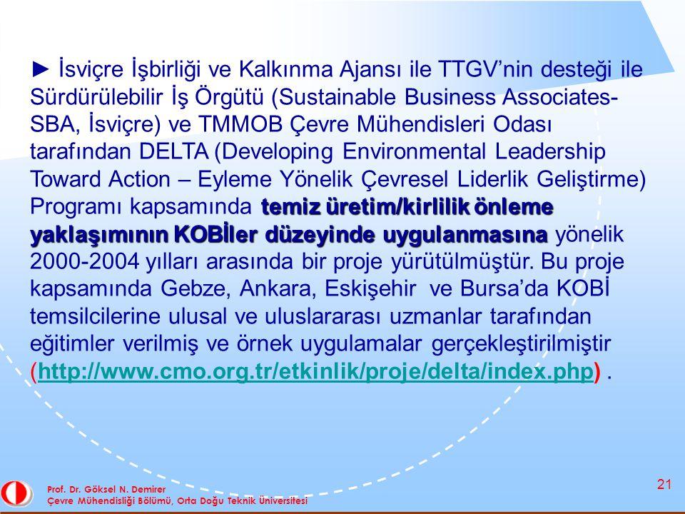 21 Prof. Dr. Göksel N. Demirer Çevre Mühendisliği Bölümü, Orta Doğu Teknik Üniversitesi temiz üretim/kirlilik önleme yaklaşımının KOBİler düzeyinde uy