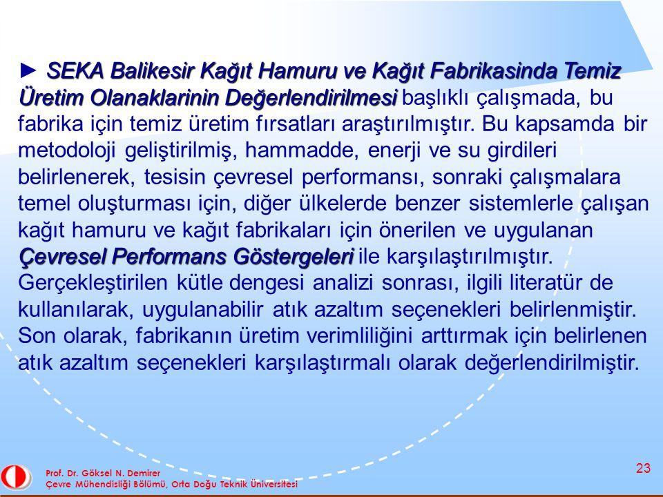 23 Prof. Dr. Göksel N. Demirer Çevre Mühendisliği Bölümü, Orta Doğu Teknik Üniversitesi SEKA Balikesir Kağıt Hamuru ve Kağıt Fabrikasinda Temiz Üretim