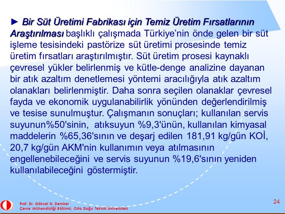24 Prof. Dr. Göksel N. Demirer Çevre Mühendisliği Bölümü, Orta Doğu Teknik Üniversitesi Bir Süt Üretimi Fabrikası için Temiz Üretim Fırsatlarının Araş