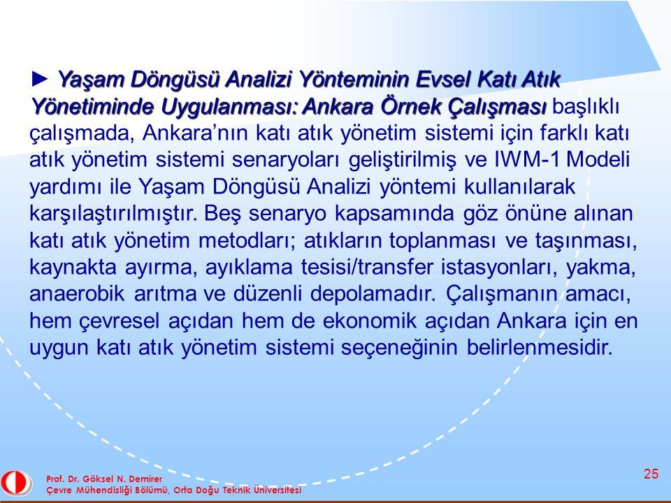 25 Prof. Dr. Göksel N. Demirer Çevre Mühendisliği Bölümü, Orta Doğu Teknik Üniversitesi Yaşam Döngüsü Analizi Yönteminin Evsel Katı Atık Yönetiminde U