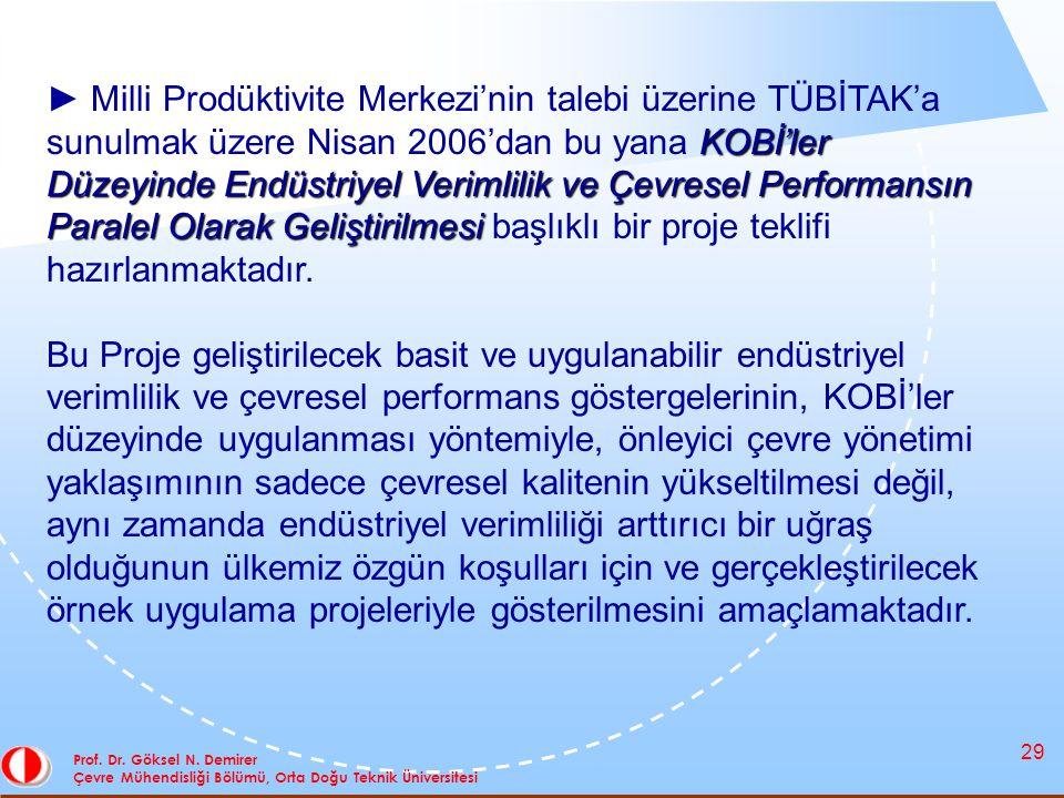 29 Prof. Dr. Göksel N. Demirer Çevre Mühendisliği Bölümü, Orta Doğu Teknik Üniversitesi KOBİ'ler Düzeyinde Endüstriyel Verimlilik ve Çevresel Performa