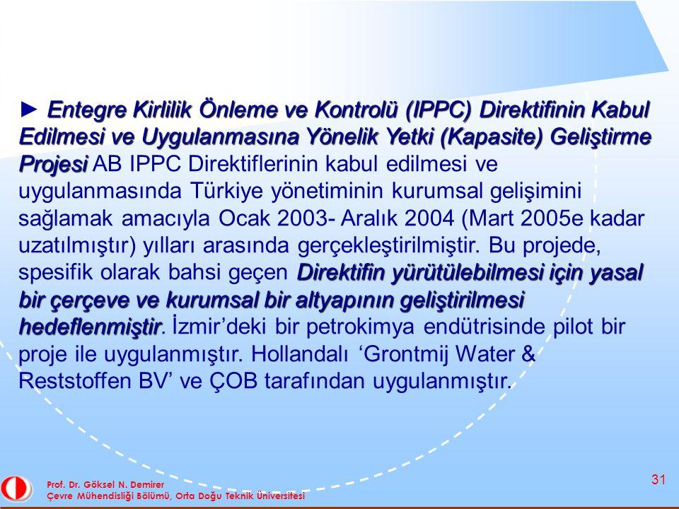 31 Prof. Dr. Göksel N. Demirer Çevre Mühendisliği Bölümü, Orta Doğu Teknik Üniversitesi Entegre Kirlilik Önleme ve Kontrolü (IPPC) Direktifinin Kabul