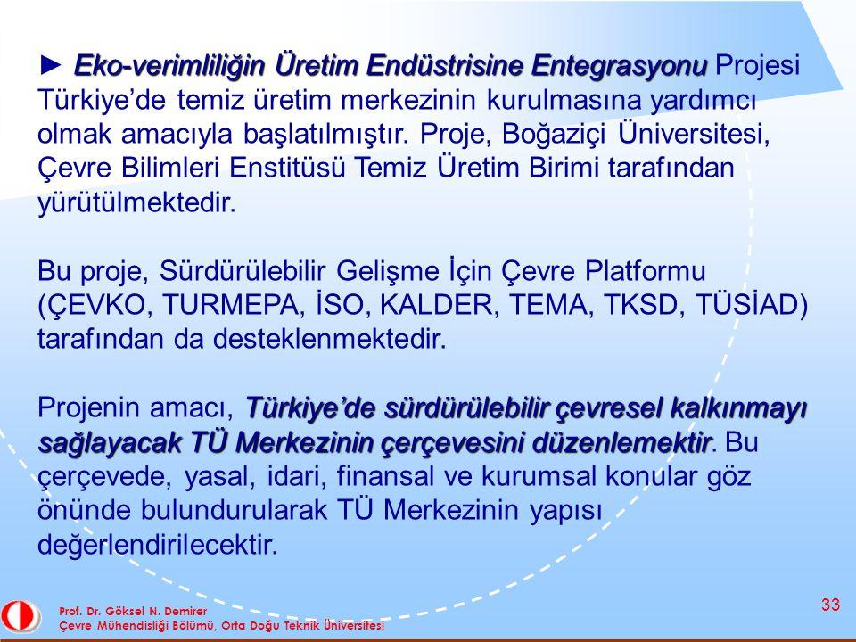 33 Prof. Dr. Göksel N. Demirer Çevre Mühendisliği Bölümü, Orta Doğu Teknik Üniversitesi Eko-verimliliğin Üretim Endüstrisine Entegrasyonu ► Eko-veriml