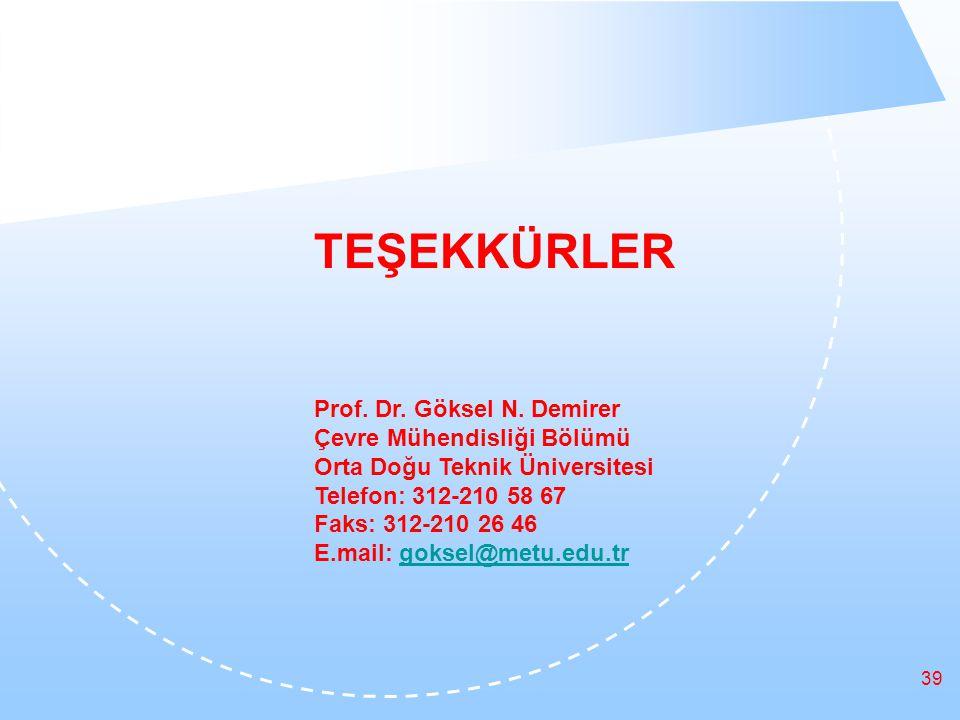 39 TEŞEKKÜRLER Prof. Dr. Göksel N.