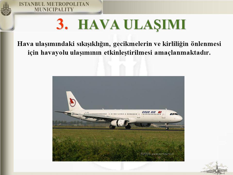 3. HAVA ULAŞIMI Hava ulaşımındaki sıkışıklığın, gecikmelerin ve kirliliğin önlenmesi için havayolu ulaşımının etkinleştirilmesi amaçlanmaktadır.