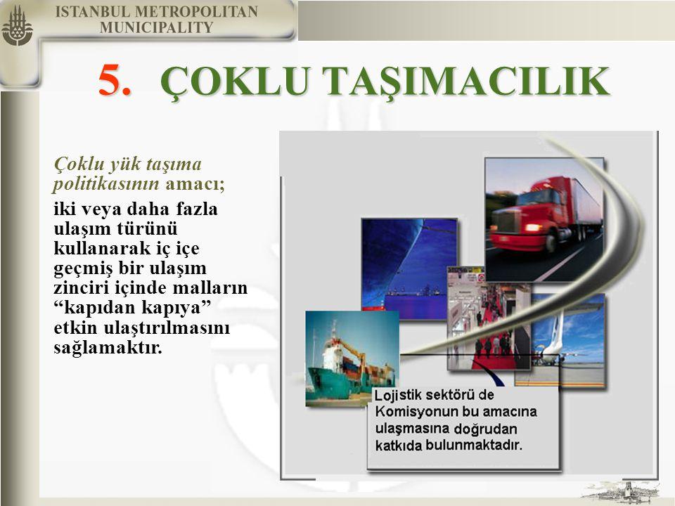 5. ÇOKLU TAŞIMACILIK Çoklu yük taşıma politikasının amacı; iki veya daha fazla ulaşım türünü kullanarak iç içe geçmiş bir ulaşım zinciri içinde mallar