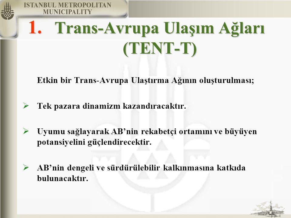 1. Trans-Avrupa Ulaşım Ağları (TENT-T) Etkin bir Trans-Avrupa Ulaştırma Ağının oluşturulması;  Tek pazara dinamizm kazandıracaktır.  Uyumu sağlayara