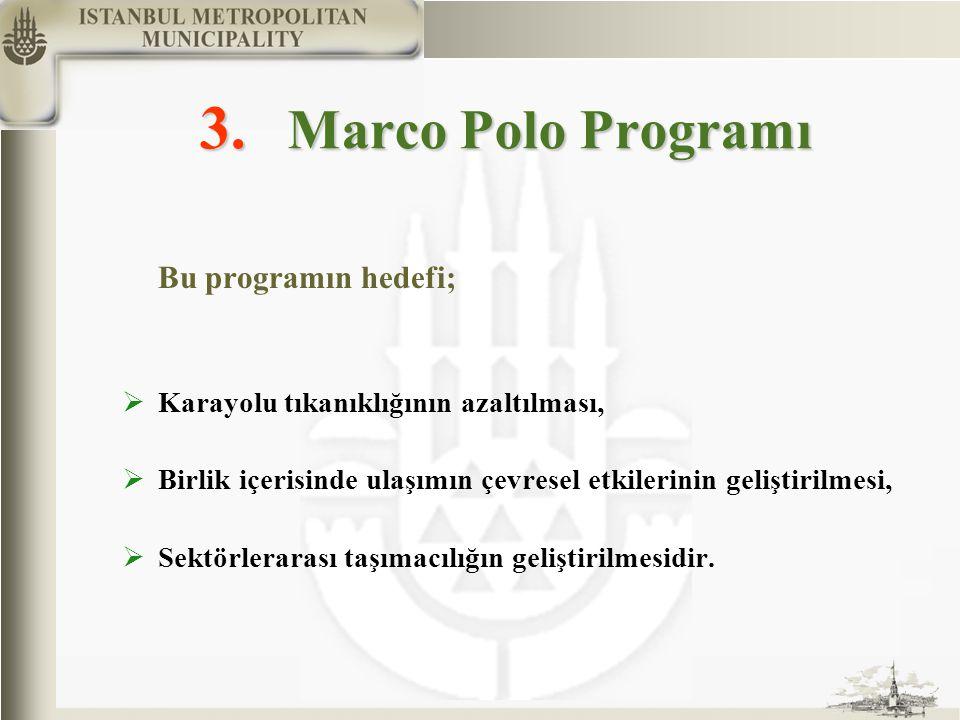 3. Marco Polo Programı Bu programın hedefi;  Karayolu tıkanıklığının azaltılması,  Birlik içerisinde ulaşımın çevresel etkilerinin geliştirilmesi, 