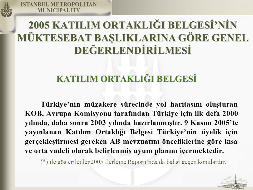 2005 KATILIM ORTAKLIĞI BELGESİ'NİN MÜKTESEBAT BAŞLIKLARINA GÖRE GENEL DEĞERLENDİRİLMESİ KATILIM ORTAKLIĞI BELGESİ Türkiye'nin müzakere sürecinde yol haritasını oluşturan KOB, Avrupa Komisyonu tarafından Türkiye için ilk defa 2000 yılında, daha sonra 2003 yılında hazırlanmıştır.