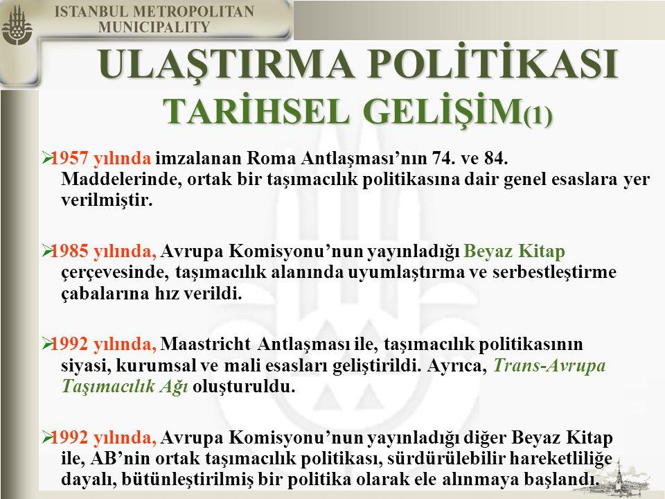 ULAŞTIRMA POLİTİKASI TARİHSEL GELİŞİM (1)  1957 yılında imzalanan Roma Antlaşması'nın 74. ve 84. Maddelerinde, ortak bir taşımacılık politikasına dai