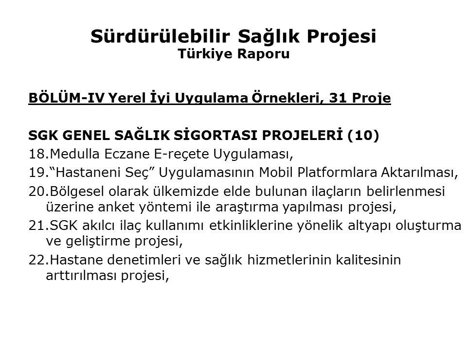Sürdürülebilir Sağlık Projesi Türkiye Raporu BÖLÜM-IV Yerel İyi Uygulama Örnekleri, 31 Proje SGK GENEL SAĞLIK SİGORTASI PROJELERİ (10) 18.Medulla Ecza