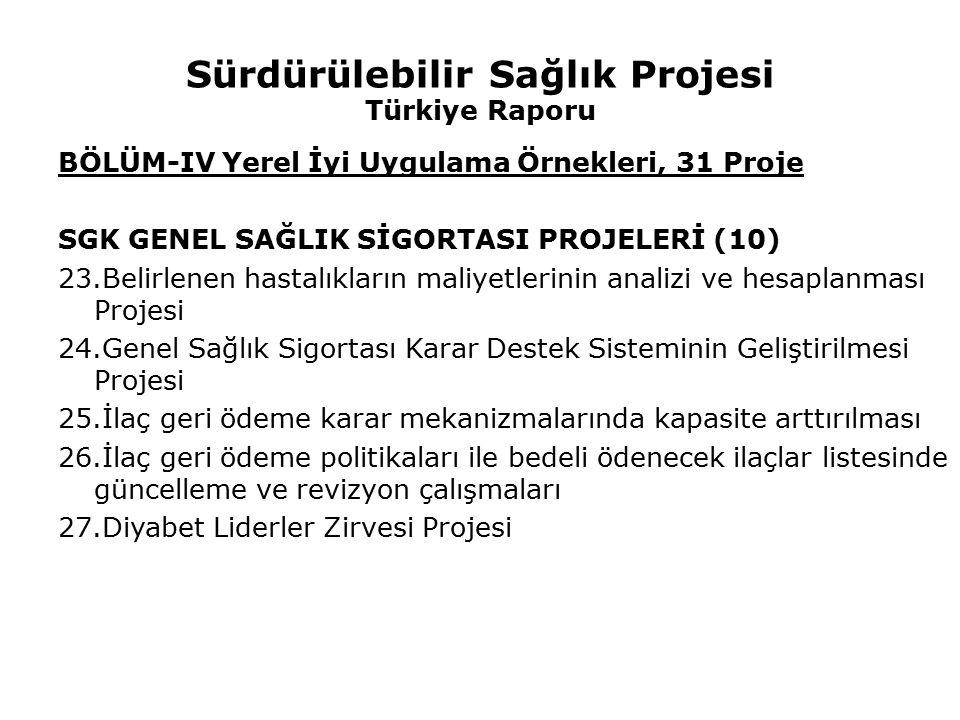 Sürdürülebilir Sağlık Projesi Türkiye Raporu BÖLÜM-IV Yerel İyi Uygulama Örnekleri, 31 Proje SGK GENEL SAĞLIK SİGORTASI PROJELERİ (10) 23.Belirlenen h