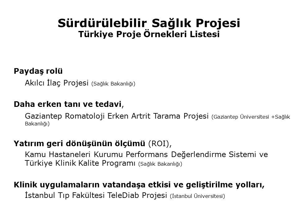 Sürdürülebilir Sağlık Projesi Türkiye Proje Örnekleri Listesi Paydaş rolü Akılcı İlaç Projesi (Sağlık Bakanlığı) Daha erken tanı ve tedavi, Gaziantep