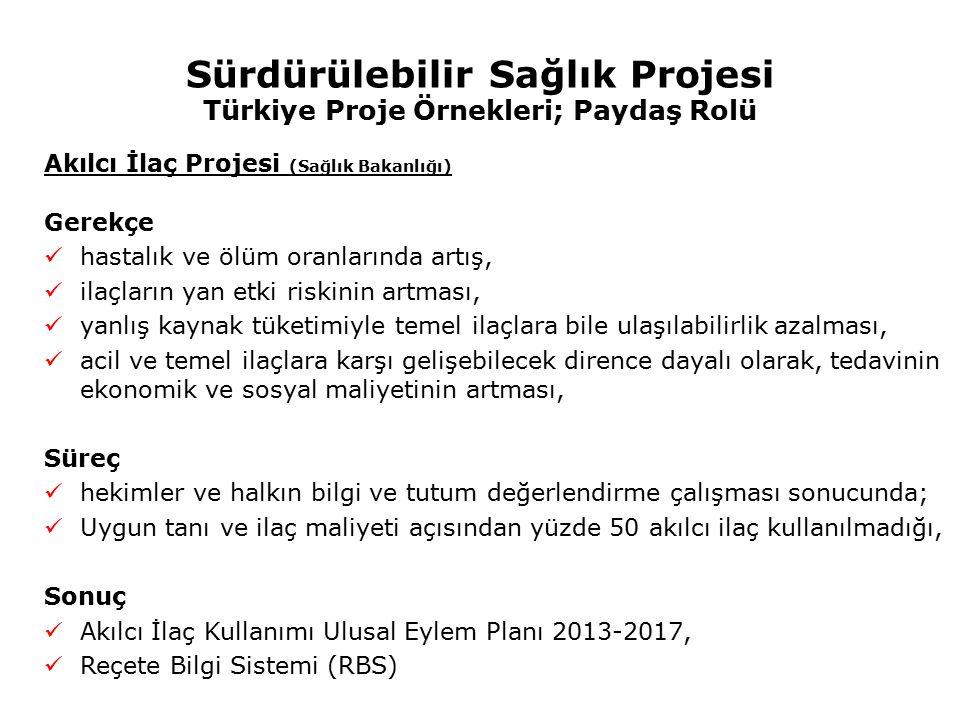 Sürdürülebilir Sağlık Projesi Türkiye Proje Örnekleri; Paydaş Rolü Akılcı İlaç Projesi (Sağlık Bakanlığı) Gerekçe hastalık ve ölüm oranlarında artış,
