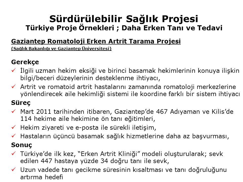 Sürdürülebilir Sağlık Projesi Türkiye Proje Örnekleri ; Daha Erken Tanı ve Tedavi Gaziantep Romatoloji Erken Artrit Tarama Projesi (Sağlık Bakanlığı v