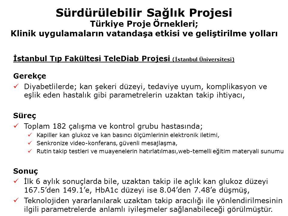 Sürdürülebilir Sağlık Projesi Türkiye Proje Örnekleri; Klinik uygulamaların vatandaşa etkisi ve geliştirilme yolları İstanbul Tıp Fakültesi TeleDiab P