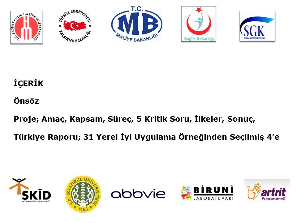 Sürdürülebilir Sağlık Projesi Türkiye Raporu ÖNSÖZ YÖNETİCİ ÖZETİ BÖLÜM-I Proje İçeriği BÖLÜM-II Türkiye Proje Süreci BÖLÜM-III Proje Perspektifinden Mevcut Durum Analizi BÖLÜM-IV Yerel İyi Uygulama Örnekleri Analizi BÖLÜM-V Genel Değerlendirme ve Sonuç KAYNAKLAR KATKI SAĞLAYANLAR