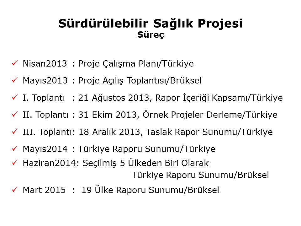 Sürdürülebilir Sağlık Projesi Süreç Nisan2013 : Proje Çalışma Planı/Türkiye Mayıs2013 : Proje Açılış Toplantısı/Brüksel I. Toplantı : 21 Ağustos 2013,