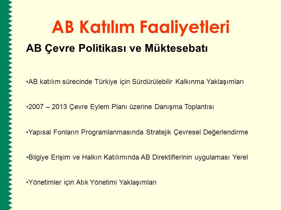 AB Katılım Faaliyetleri AB Çevre Politikası ve Müktesebatı AB katılım sürecinde Türkiye için Sürdürülebilir Kalkınma Yaklaşımları 2007 – 2013 Çevre Ey