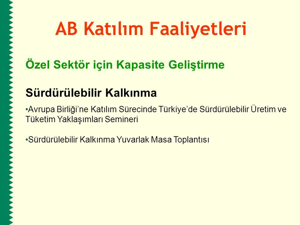 AB Katılım Faaliyetleri Özel Sektör için Kapasite Geliştirme Sürdürülebilir Kalkınma Avrupa Birliği'ne Katılım Sürecinde Türkiye'de Sürdürülebilir Üre