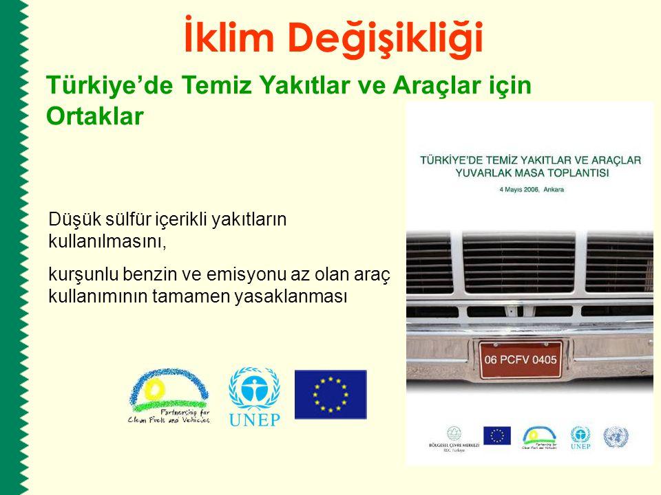 Düşük sülfür içerikli yakıtların kullanılmasını, kurşunlu benzin ve emisyonu az olan araç kullanımının tamamen yasaklanması İklim Değişikliği Türkiye'