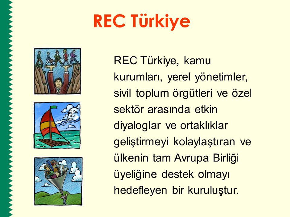 REC Türkiye REC Türkiye, kamu kurumları, yerel yönetimler, sivil toplum örgütleri ve özel sektör arasında etkin diyaloglar ve ortaklıklar geliştirmeyi
