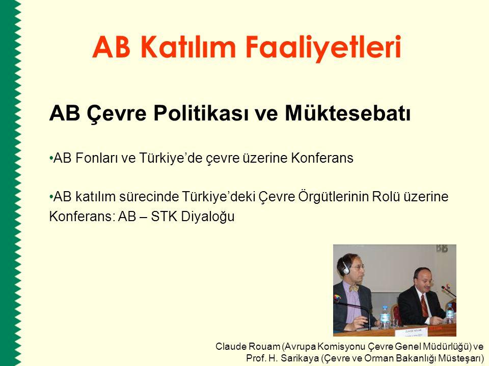AB Katılım Faaliyetleri AB Çevre Politikası ve Müktesebatı AB katılım sürecinde Türkiye için Sürdürülebilir Kalkınma Yaklaşımları 2007 – 2013 Çevre Eylem Planı üzerine Danışma Toplantısı Yapısal Fonların Programlanmasında Stratejik Çevresel Değerlendirme Bilgiye Erişim ve Halkın Katılımında AB Direktiflerinin uygulaması Yerel Yönetimler için Atık Yönetimi Yaklaşımları