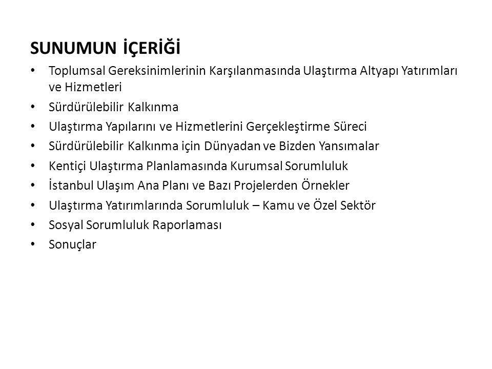 SUNUMUN İÇERİĞİ Toplumsal Gereksinimlerinin Karşılanmasında Ulaştırma Altyapı Yatırımları ve Hizmetleri Sürdürülebilir Kalkınma Ulaştırma Yapılarını ve Hizmetlerini Gerçekleştirme Süreci Sürdürülebilir Kalkınma için Dünyadan ve Bizden Yansımalar Kentiçi Ulaştırma Planlamasında Kurumsal Sorumluluk İstanbul Ulaşım Ana Planı ve Bazı Projelerden Örnekler Ulaştırma Yatırımlarında Sorumluluk – Kamu ve Özel Sektör Sosyal Sorumluluk Raporlaması Sonuçlar