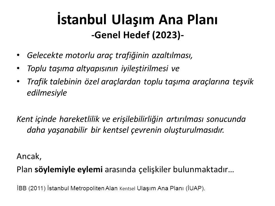 İstanbul Ulaşım Ana Planı -Genel Hedef (2023)- Gelecekte motorlu araç trafiğinin azaltılması, Toplu taşıma altyapısının iyileştirilmesi ve Trafik talebinin özel araçlardan toplu taşıma araçlarına teşvik edilmesiyle Kent içinde hareketlilik ve erişilebilirliğin artırılması sonucunda daha yaşanabilir bir kentsel çevrenin oluşturulmasıdır.