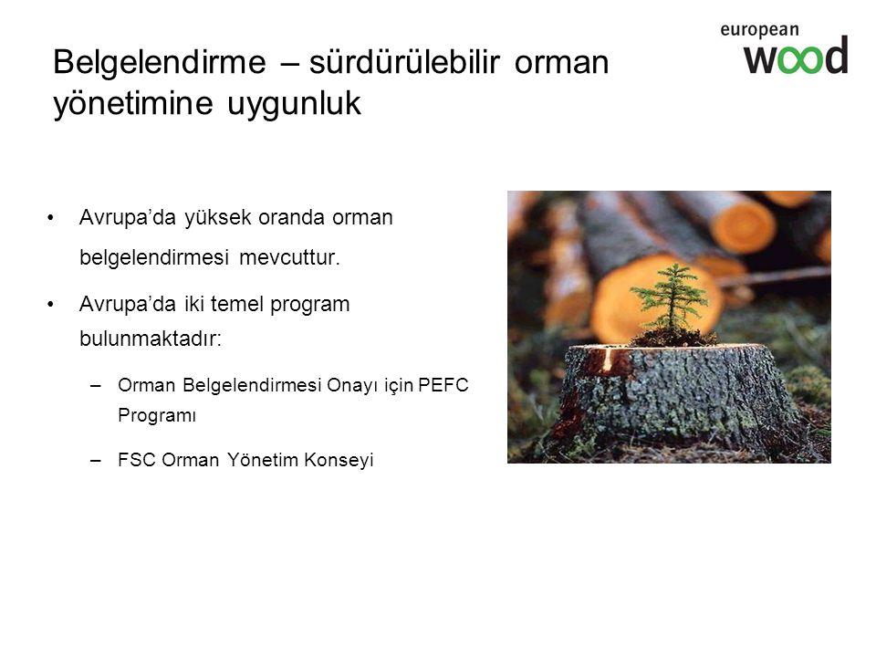 Belgelendirme – sürdürülebilir orman yönetimine uygunluk Avrupa'da yüksek oranda orman belgelendirmesi mevcuttur. Avrupa'da iki temel program bulunmak