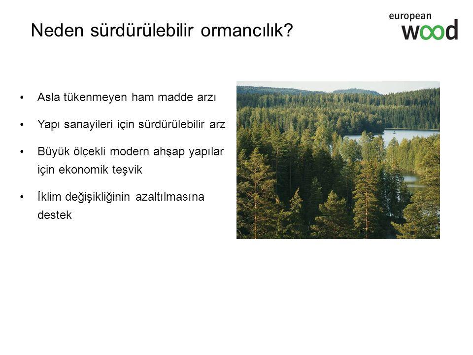 Neden sürdürülebilir ormancılık? Asla tükenmeyen ham madde arzı Yapı sanayileri için sürdürülebilir arz Büyük ölçekli modern ahşap yapılar için ekonom