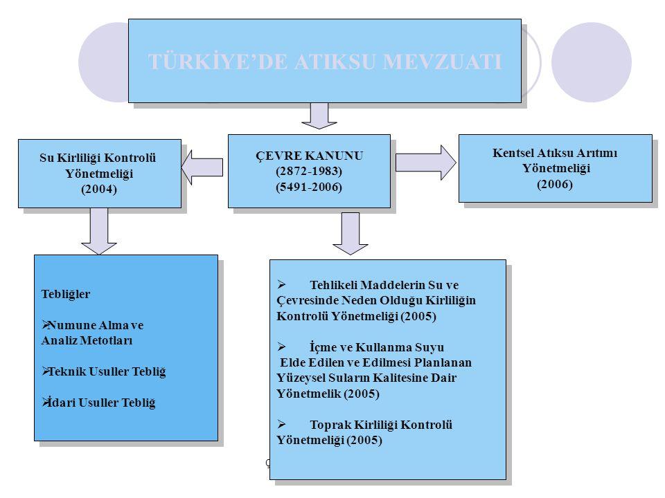Çevre Yönetimi Genel Müdürlüğü ÇEVRE KANUNU (2872-1983) (5491-2006) ÇEVRE KANUNU (2872-1983) (5491-2006) Su Kirliliği Kontrolü Yönetmeliği (2004) Su K