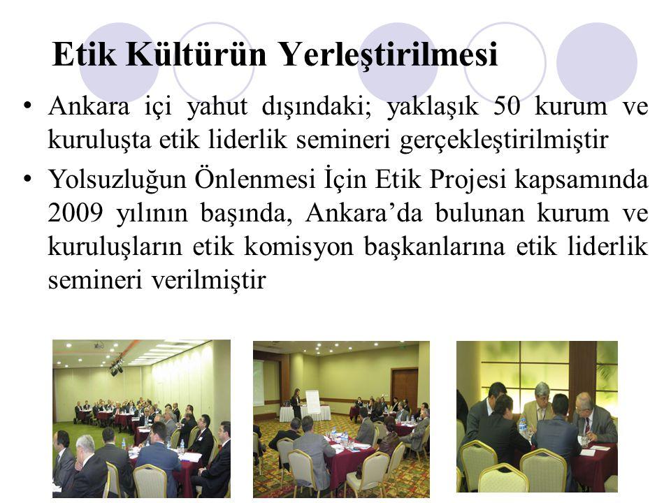Etik Kültürün Yerleştirilmesi Ankara içi yahut dışındaki; yaklaşık 50 kurum ve kuruluşta etik liderlik semineri gerçekleştirilmiştir Yolsuzluğun Önlen