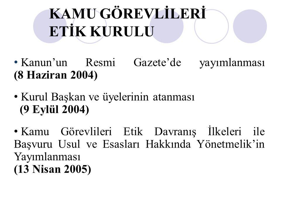 Kanun'un Resmi Gazete'de yayımlanması (8 Haziran 2004) Kurul Başkan ve üyelerinin atanması (9 Eylül 2004) Kamu Görevlileri Etik Davranış İlkeleri ile