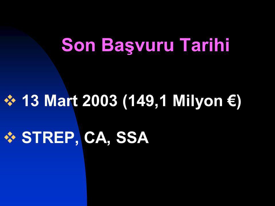 Son Başvuru Tarihi  13 Mart 2003 (149,1 Milyon €)  STREP, CA, SSA