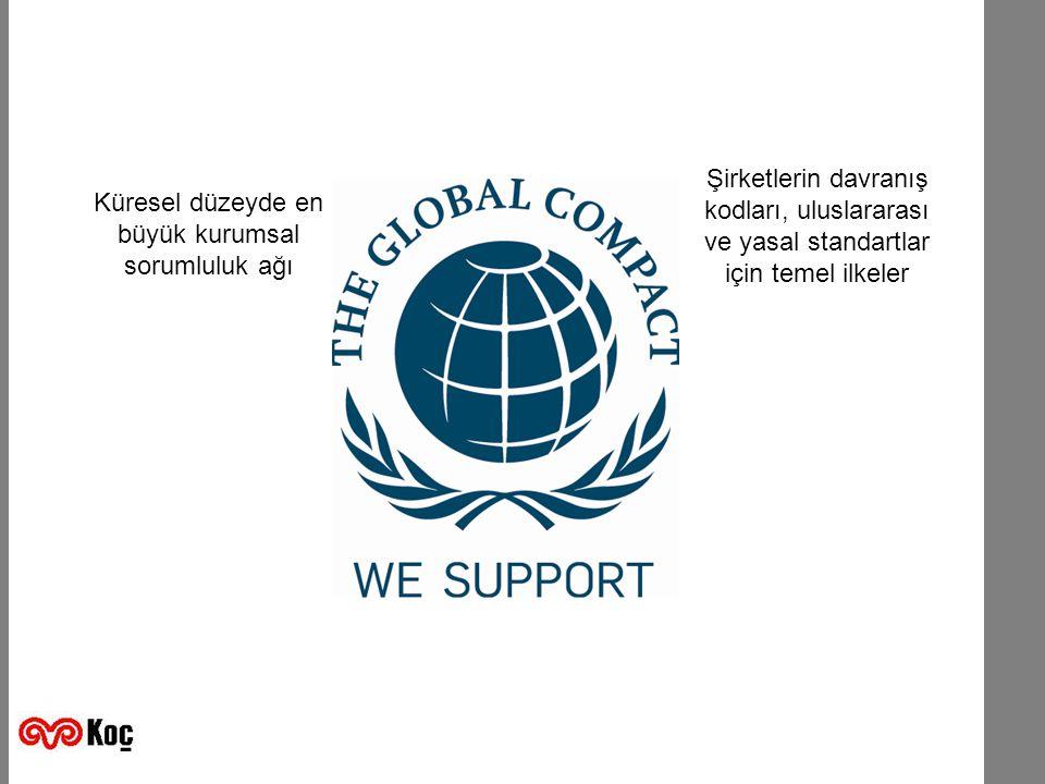 K ÜRE SELİ LKELE RS ÖZLE ŞMESI Küresel düzeyde en büyük kurumsal sorumluluk ağı Şirketlerin davranış kodları, uluslararası ve yasal standartlar için temel ilkeler