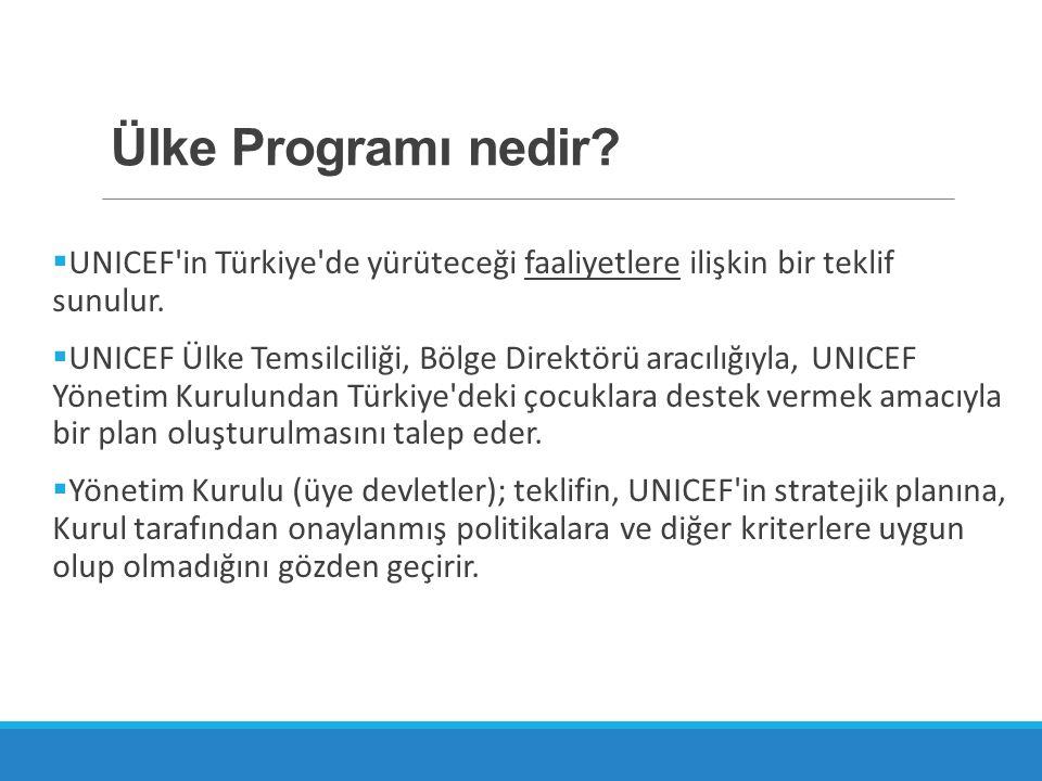 Ülke Programı nedir?  UNICEF'in Türkiye'de yürüteceği faaliyetlere ilişkin bir teklif sunulur.  UNICEF Ülke Temsilciliği, Bölge Direktörü aracılığıy