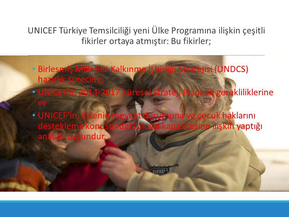 UNICEF Türkiye Temsilciliği yeni Ülke Programına ilişkin çeşitli fikirler ortaya atmıştır: Bu fikirler; Birleşmiş Milletler Kalkınma İşbirliği Stratej