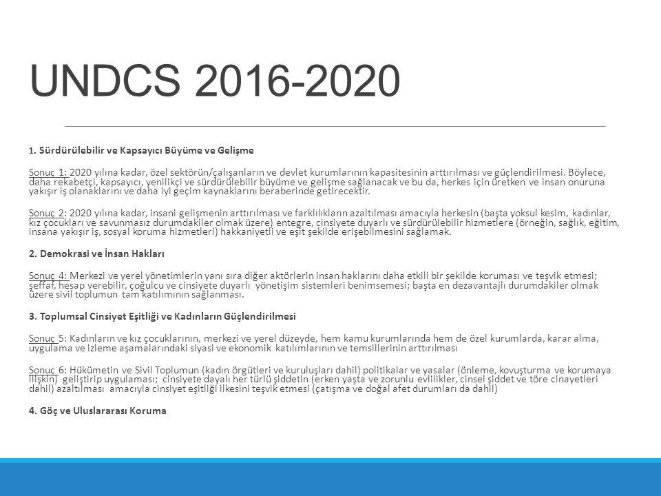 UNDCS 2016-2020 1. Sürdürülebilir ve Kapsayıcı Büyüme ve Gelişme Sonuç 1: 2020 yılına kadar, özel sektörün/çalışanların ve devlet kurumlarının kapasit
