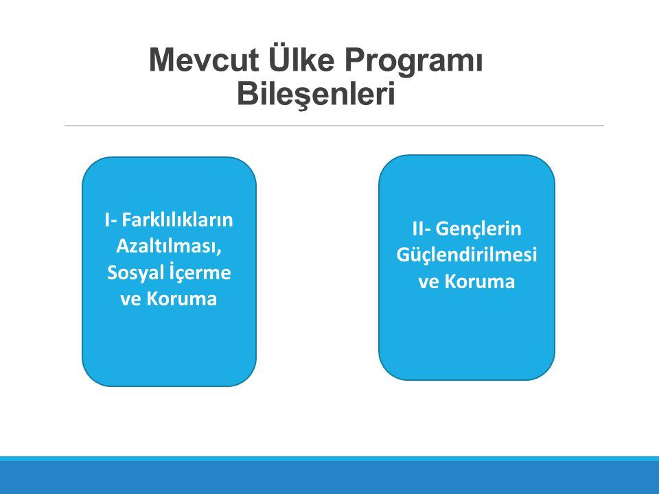 Mevcut Ülke Programı Bileşenleri I- Farklılıkların Azaltılması, Sosyal İçerme ve Koruma II- Gençlerin Güçlendirilmesi ve Koruma