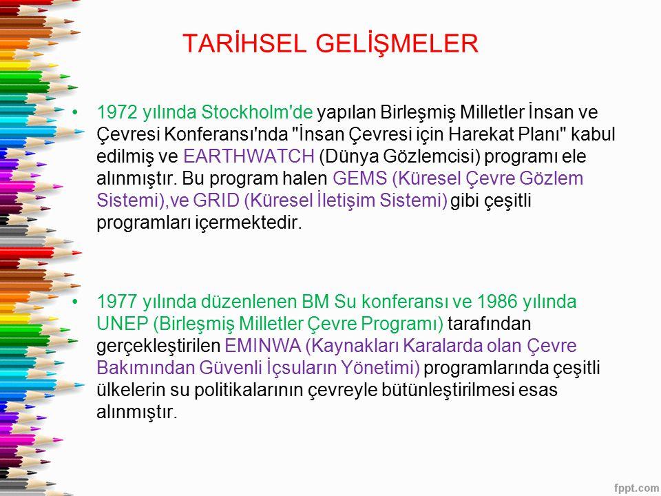 TARİHSEL GELİŞMELER 1972 yılında Stockholm de yapılan Birleşmiş Milletler İnsan ve Çevresi Konferansı nda İnsan Çevresi için Harekat Planı kabul edilmiş ve EARTHWATCH (Dünya Gözlemcisi) programı ele alınmıştır.