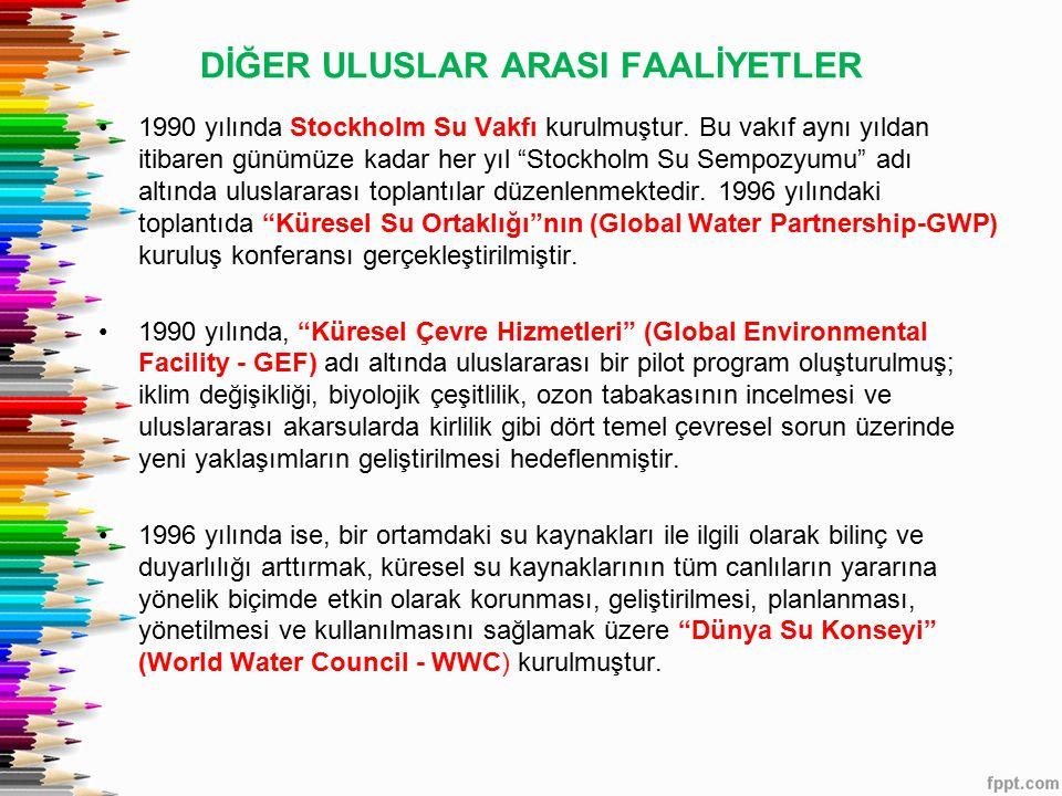 DİĞER ULUSLAR ARASI FAALİYETLER 1990 yılında Stockholm Su Vakfı kurulmuştur.