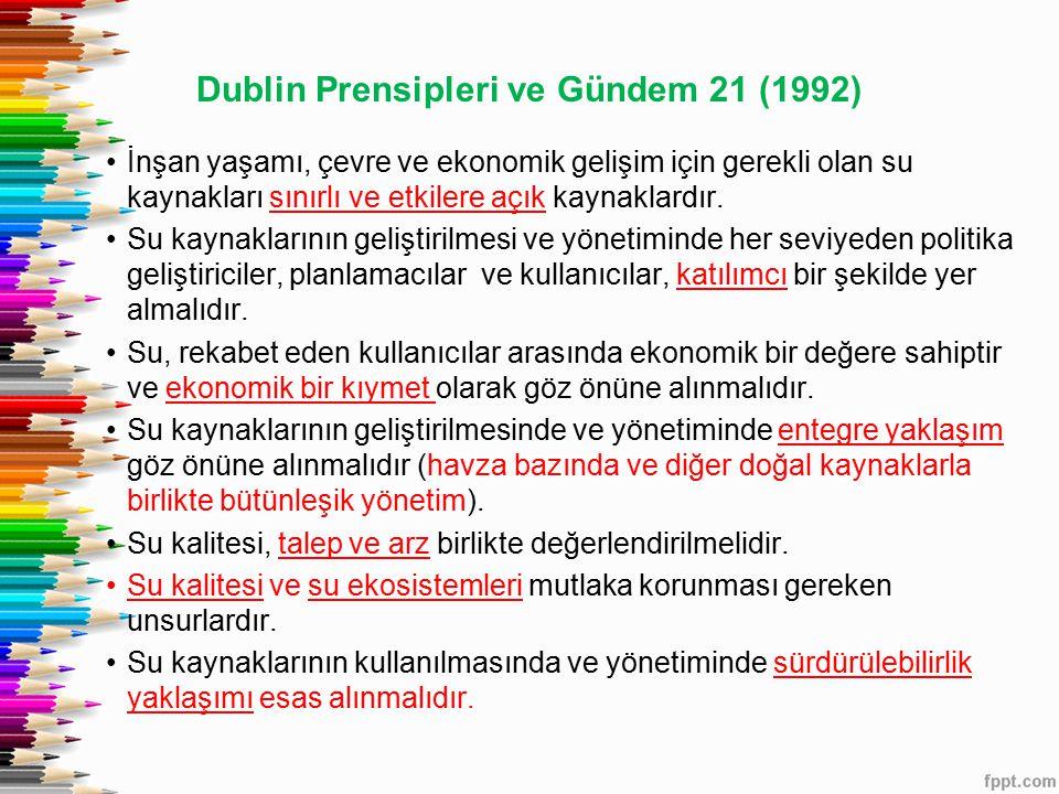 Dublin Prensipleri ve Gündem 21 (1992) İnşan yaşamı, çevre ve ekonomik gelişim için gerekli olan su kaynakları sınırlı ve etkilere açık kaynaklardır.