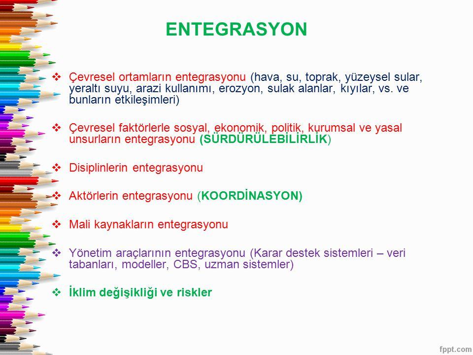 ENTEGRASYON  Çevresel ortamların entegrasyonu (hava, su, toprak, yüzeysel sular, yeraltı suyu, arazi kullanımı, erozyon, sulak alanlar, kıyılar, vs.
